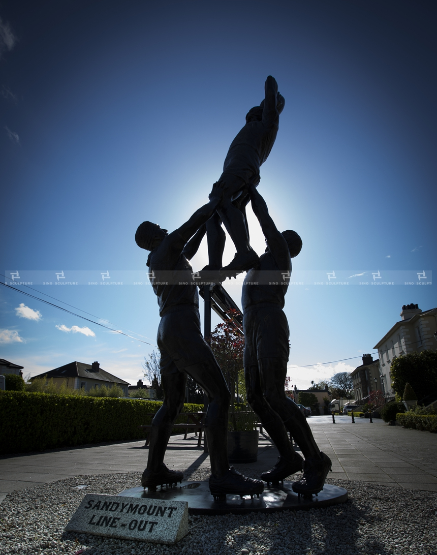 Dublin-casted-bronze-sculpture-Silicon-bronze-conemporary-art-sculpture-Rugby statue-persons-American football-Ireland SANDYMOUNT-HOTEL-sculpture.jpg